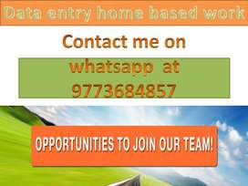 Data entry job work at home based job typing work part time job.