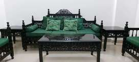 5 seater sofa set with two side tables and a centre table.
