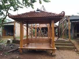 Gazebo minimalis kayu jati ukuran 2x3m