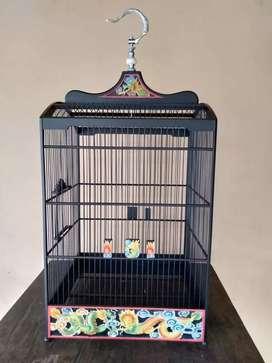 Sangkar burung motif ukiran naga, kayu jati, free ongkir