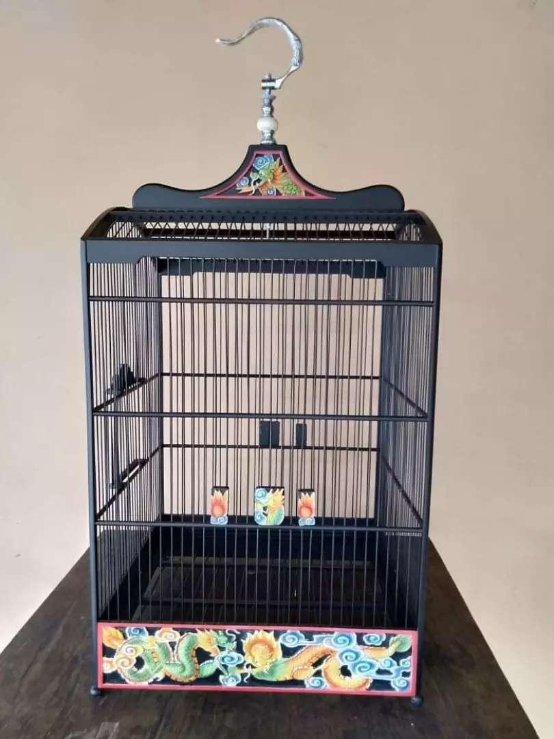 Sangkar burung motif ukiran naga, kayu jati, free ongkir 0