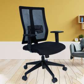Black alder office chair with revolving nylon base .