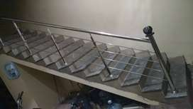Stainless-Steel Stairs Railing & Elevation