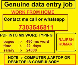 HOME BASED OFFLINE DATA TYPING WORK PDF TO MS WORD TYPING JOB 24X7...