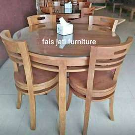 Set kursi meja makan bundar jati