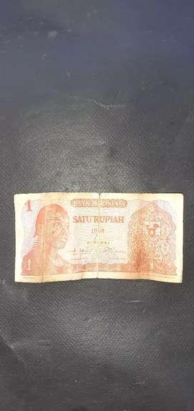Uang kertas 1 rupiah th 1968 dijual murah