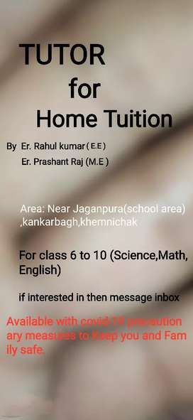 Home tuition for 6 to 10 with board exam preparation.