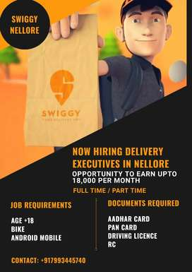 SWIGGY HIRING DELIVERY EXECUTIVES IN NELLORE