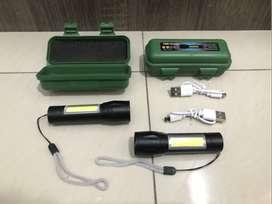 Senter Taktikal Mini Super Terang 3 Sisi Lampu Cas USB Tanpa Baterai