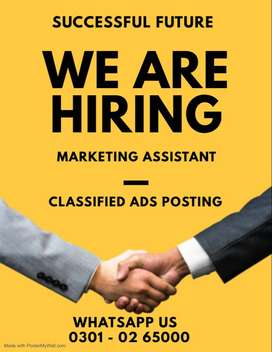 Qualified students are needed for Classifieds Ads posting online job