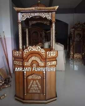 Mimbar masjid khutbah kayu jati