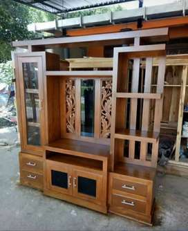 Almari hias partisi minimalis material kayu jati ajf318