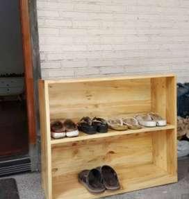 Rak Sepatu Full Kayu Jati Belanda Pinus Solid Unik