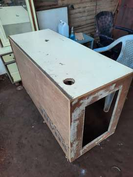 Used wooden counter table and showcase