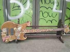 Bass elektrik super antik kayu jati lapis kulit sapi ukir gambar