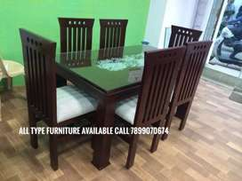 Dining table new model 6 chair good quality with guarante all furnitur