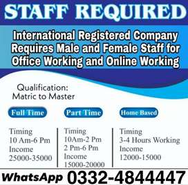 Male female  staff required for full time part time home base job