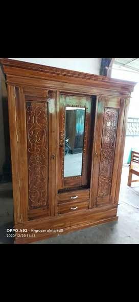 Promo murah lemari pintu 3 kayu mahoni