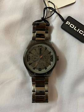 New police metal watch grey and black dial