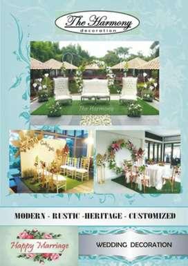 Backdrop dekorasi lamaran akad pernikahan & paket dekorasi wedding