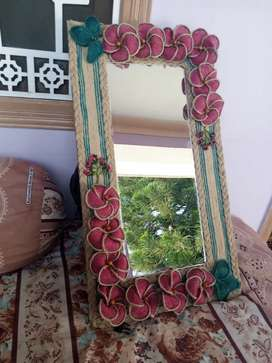 Hand made jute work on wall Mirrors