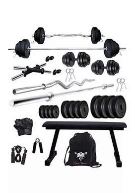 Home gym set with flat bench
