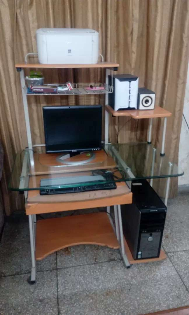 Dell monitor and cpu along with canon printer,keyboard and speakers 0