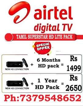 AIRTEL DTH TAMIL SUPERSTRONG DEAL Tatasky Tata sky Sun Dish TV HD Box