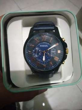 FOSSIL GRANT CHRONOGRAPH BLUE NAVY LEATHER STRAP