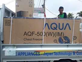 Ter LAKU -BOX FREZER pembeku AQUA japan 2 pintu kapasitas 500 liter