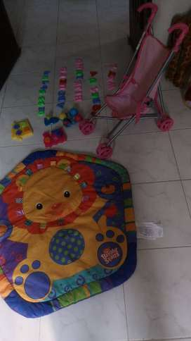 Excellent condition foreign learning play mat, trolley, kaleidoscope