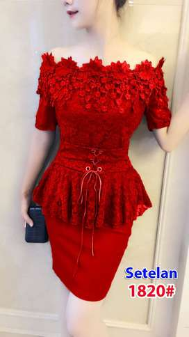 Setelan Gaun Pesta1820 merah  Fit S dan M