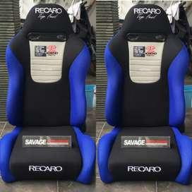 Jok racing recaro top fuel biru hitam readystock balikpapan