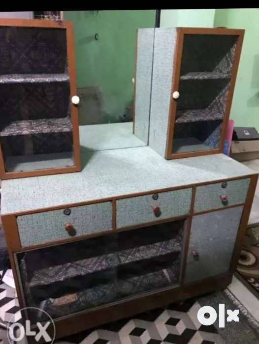 White And Brown Wooden Dresser With Mirror 0