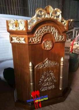 Mimbar masjid khutbah podium tipe ukiran