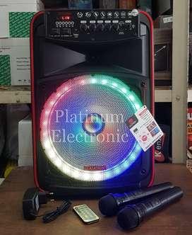 """Speaker Aktif Asatron Oceana 12"""" Portable 2 Mic Wireless Karaoke Troli"""