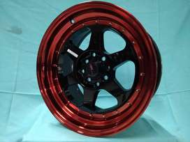 jual velg brio RUMOI JD8659 HSR Ring 15 pcd 8X100-114,3 warna BK/REDL