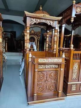 Mimbar masjid kayu jati kampus uin