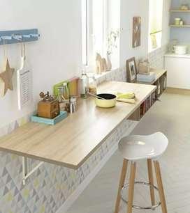 Meja makan, meja dapur, meja dinding, meja modern