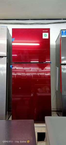 Kredot tanpa dp Bunga0% Proses mudah kulkas 2 pintu warna merah
