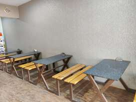 Four Commercial table with 6 seater bench each