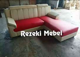 Sofa L new VALCO cream-merah minimalis kulit.