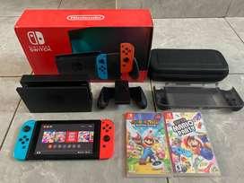 Nintendo Switch V2 Neon BONUS Memory 128gb + Games + Case + Pouch