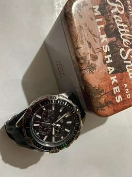 Fossil black chronograph watch for men