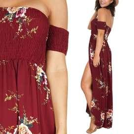 Dress Pantai Sabrina Maxi BOHO Motif Bunga Import Dress Wanita Murah -