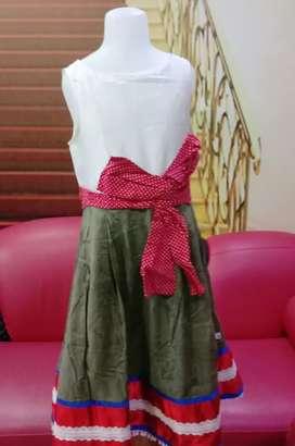 Dress anak panjang Berfuring Kwalitas butik Katun Usia 10 - 12 tahun