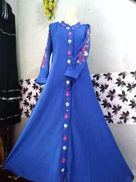Jual baju gamis cantik ukuran all size warna biru