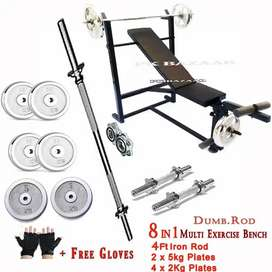 Weight plates chest exercises 7 in 1 bentch 4ft rod Dumbbell rod gym
