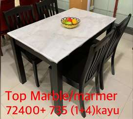 Meja makan batu marmer