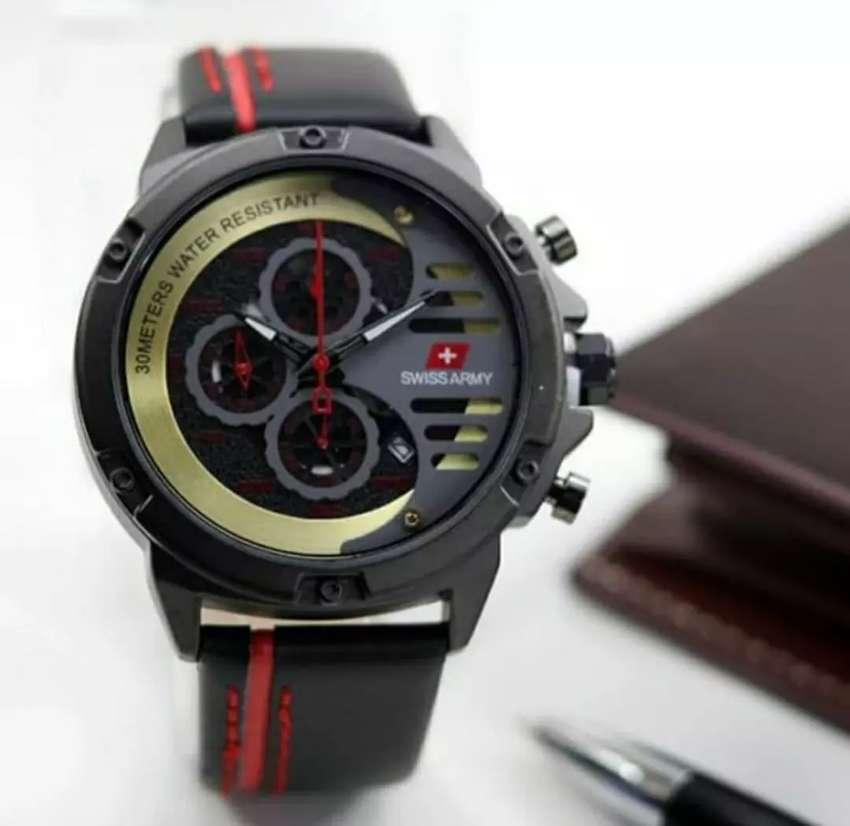 jam tangan swiss army black 3 chrono on leather strapppp 0